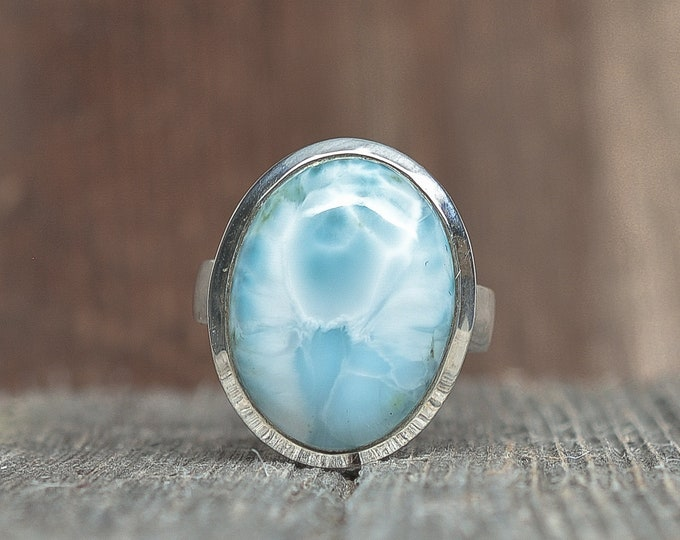 Larimar Ring - Sterling Silver - Size 8