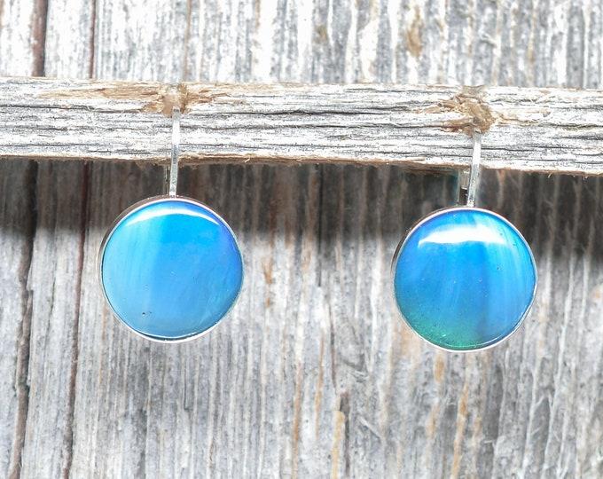 Swedish Blue Earrings - Sterling Silver - 12mm - Leverback