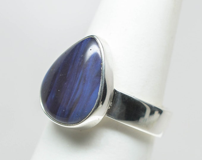 Leland Blue (Pioneer Swirl) Ring - Sterling Silver - Size 7