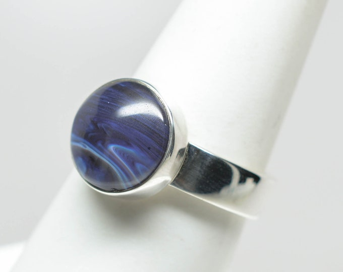 Leland Blue (Pioneer Swirl) Ring - Sterling Silver - 10mm - Size 7 1/2