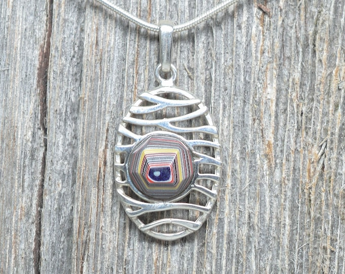 Fordite Pendant - Sterling Silver - 10mm Stone - Oval