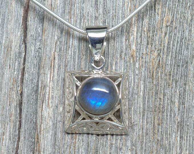"Labradorite Pendant - Sterling Silver - 7/8"" by 7/8"""