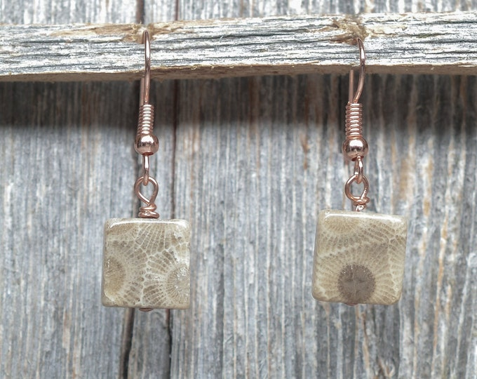 Petoskey Stone Earrings - Copper - 11mm x 11mm