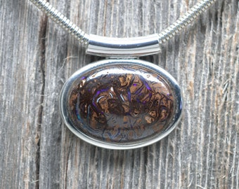 Koroit Boulder Opal Necklace - Silver Plated - Chain Included