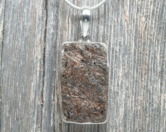 Astrophyllite Pendant - Sterling Silver - Rectangle - 35mm by 20mm