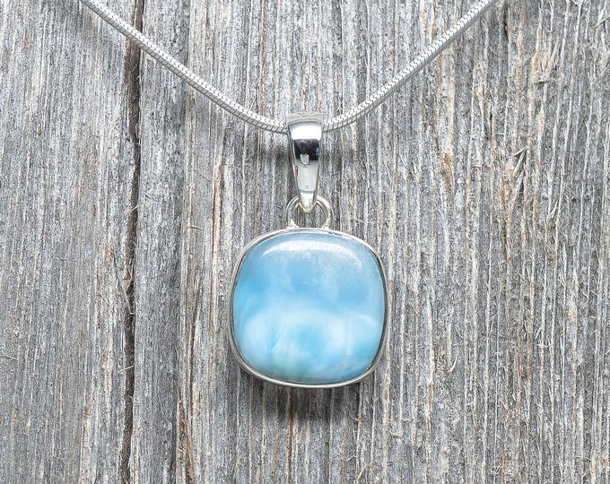 Larimar Pendant - Sterling Silver - 17mm by 17mm