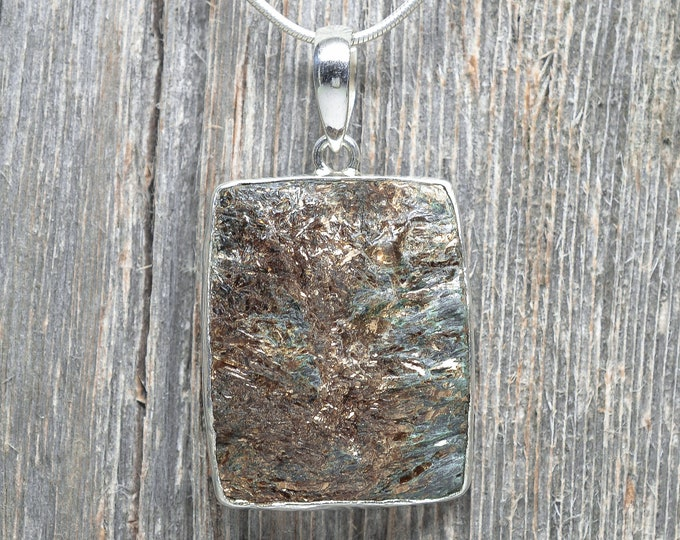 Astrophyllite Pendant - Sterling Silver - Rectangle - 35mm by 28mm