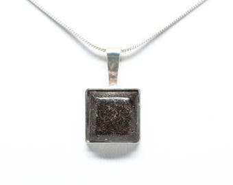 Sterling Silver Copper Firebrick 12mmx12mm Square Pendant