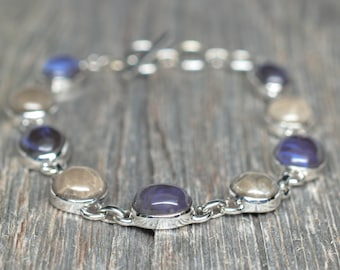 Leland Blue (Pioneer Swirl) - Petoskey - Bracelet - Sterling Silver - Adjustable from 7 1/2 to 8 1/2 inches