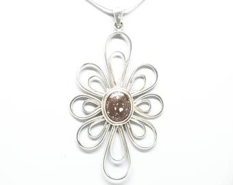 Sterling Silver Copper Firebrick Flower Pendant