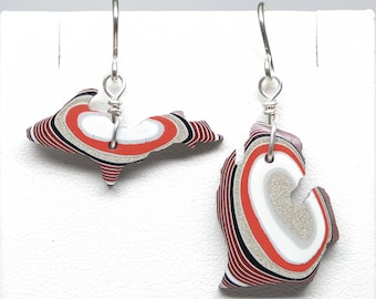 Michigan Shaped Fordite Earrings - Lower and Upper Peninsula