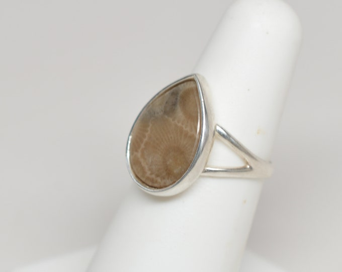 Petoskey Stone Ring - Sterling Silver - 12mm x 12mm - Size 6.25