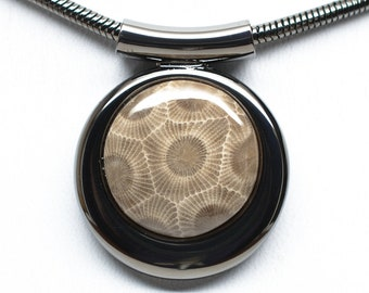 Fancy Petoskey Stone Necklace - Gunmetal Plated - Chain Included