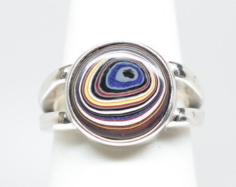 Fordite Ring - Sterling Silver - Size 7