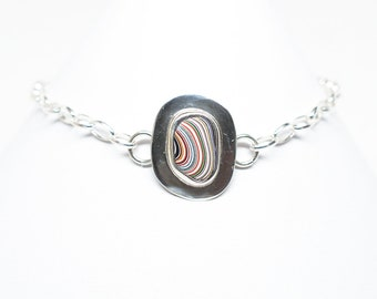 Fordite Bracelet - Sterling Silver - Adjustable up to 8.25 Inches