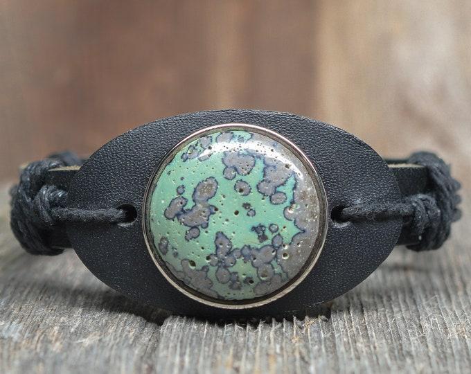 Frankfort Green Bracelet - Sterling Silver - Leather - Adjustable - 25mm Stone