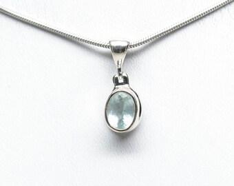 Aquamarine Pendant - Sterling Silver