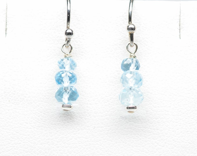 Aquamarine Earrings - Sterling Silver - Stacked