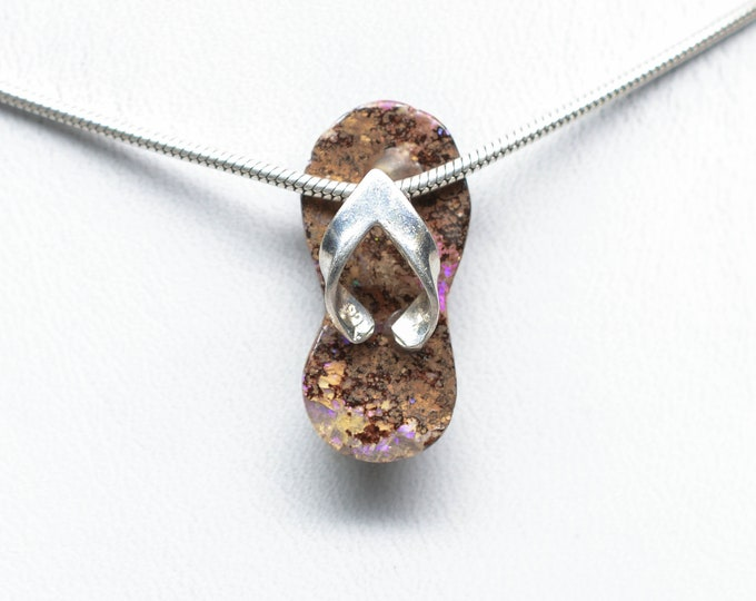 Koroit Boulder Opal Pendant - Sterling Silver - Flipflop - 22mm x 11mm