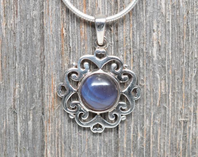 Leland Blue (Pioneer Swirl) Pendant - Sterling Silver - 10mm Stone - Flower