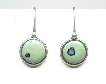 Frankfort Green Antique Sterling Silver 10 mm Round Earrings