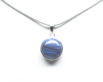 Leland Blue Sterling Silver Circle Pendant - 12mm Stone