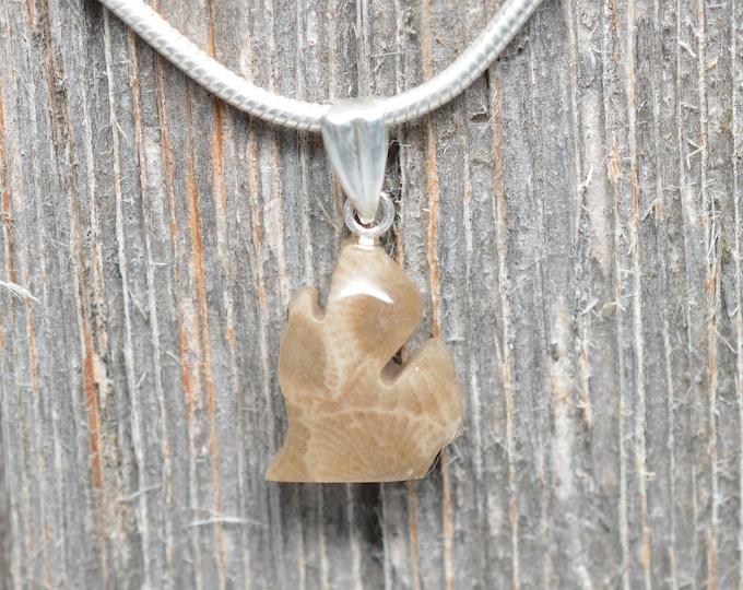Micro Michigan Shaped Petoskey Stone Pendant - Lower Peninsula