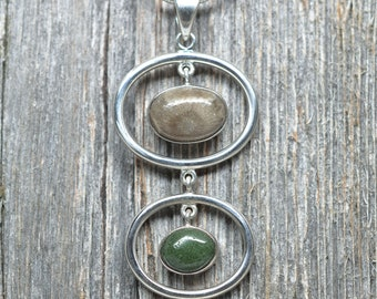 Double Michigan Stone Pendant - Petoskey Stone - Frankfort Green - Sterling Silver