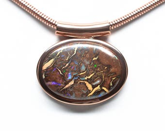 Koroit Boulder Opal Necklace - Copper Plated - Oval - Chain Included