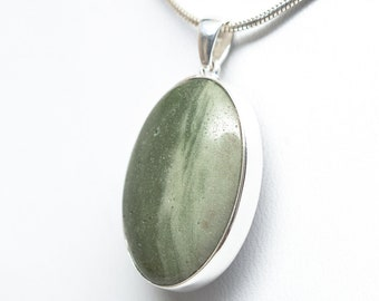 Reversible Petoskey Stone / Frankfort Green Sterling Silver Oval Pendant