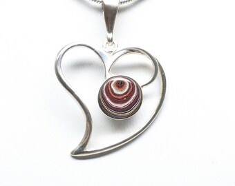 Fordite Pendant - Sterling Silver - 10mm Stone - Heart