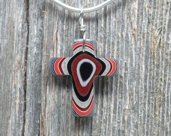 Fordite Cross Pendant - Handmade Detroit Agate Cross - Sterling Silver