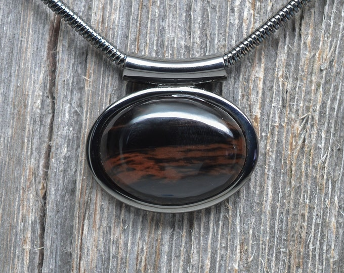 Mahogany Obsidian Necklace - Gunmetal Plated - Chain Included