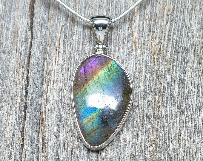 "Labradorite Pendant - Sterling Silver - 1 1/4"" by 3/4"""