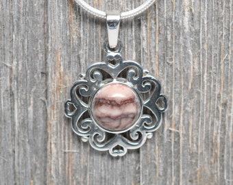 Kona Dolomite Pendant - Sterling Silver - 10mm Stone - Flower