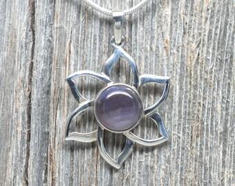 Leland Blue (Pioneer Swirl) Pendant - Sterling Silver - 12mm Stone - Flower