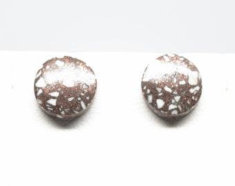 Copper Firebrick Earrings - Studs - Sterling Silver - 10mm