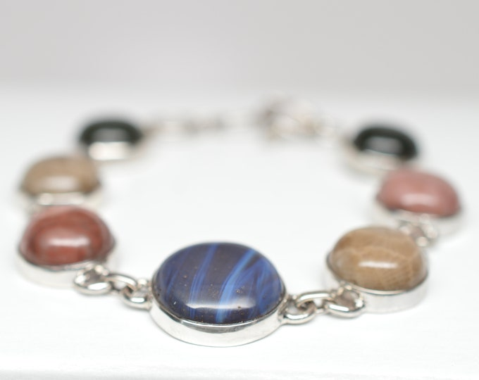 Leland Blue (Pioneer Swirl), Kona Dolomite, Petoskey, Frankfort Green Bracelet - Sterling Silver - Adjustable from 7 to 8 1/4 inches