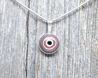 Fordite Pendant - Sterling Silver - 12mm Round