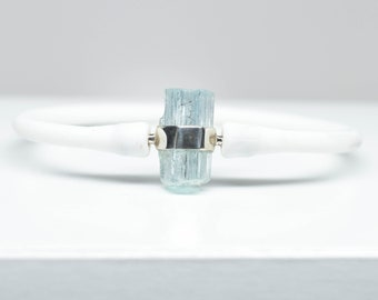 "Aquamarine Bracelet - Sterling Silver - Fits wrists up to 8"" in circumference"