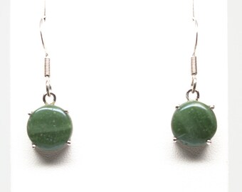 Frankfort Green Earrings - Sterling Silver - 11mm Round