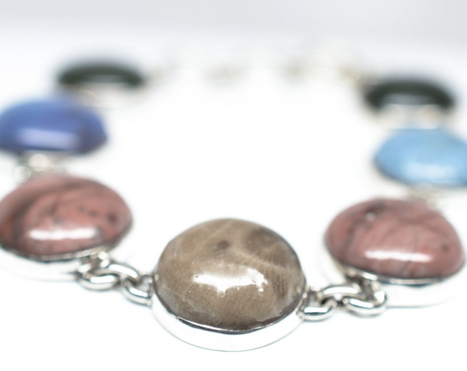 Kona Dolomite, Leland Blue (Pioneer Swirl), Petoskey, Frankfort Green Bracelet - Sterling Silver - Adjustable from 7 1/2 to 8 3/4 inches