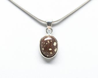 Sterling Silver 10mmx12mm Oval Copper Firebrick Pendant