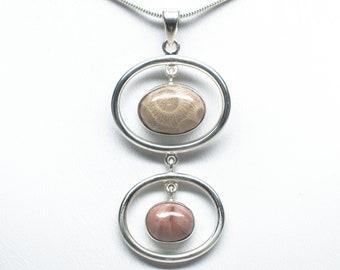 Petoskey Stone / Kona Dolomite Pendant - Sterling Silver