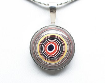 Fordite Pendant - Sterling Silver - 20mm Round
