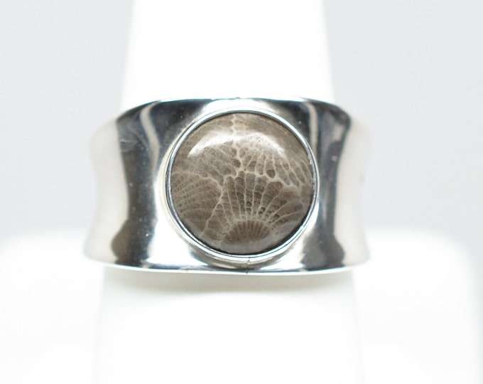 10mm Petoskey Stone Round Sterling Silver Ring - Size 7 1/2