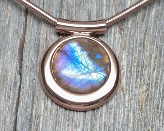 Fancy Labradorite Stone Necklace - Copper Plated - Chain Included