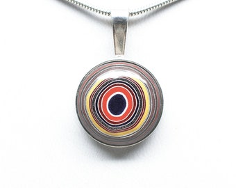 Fordite Pendant - Sterling Silver - 16mm Round