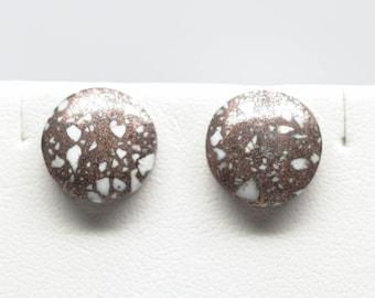 Copper Firebrick Earrings - Studs - Sterling Silver - 12mm