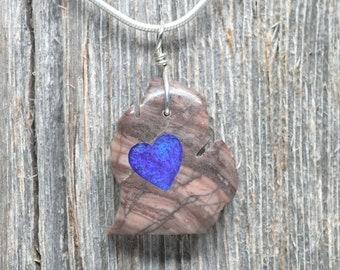 Michigan Shaped Kona Dolonite w/ Epoxy Resin Heart - Lower Peninsula